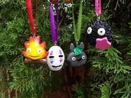 studio ghibli inspired holiday ornaments no face totoro