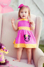 girls minnie mouse pink and yellow number jumper dress