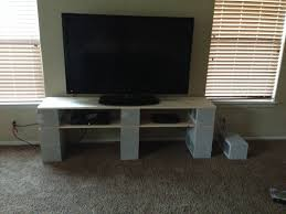 f gray polished concrete block for tv stand using white wooden