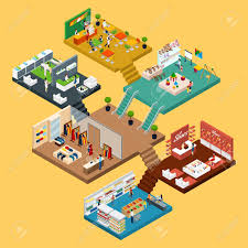 mall isometric icon set with conceptual 3d map of multistory