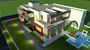3d front elevation 500 square meter modern contemporary house in