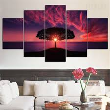 magnificent red sunset by the sea 5 piece canvas prints