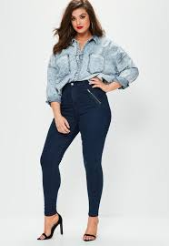 plus size blue lawless high waisted side zip jeggings missguided
