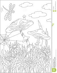 cartoon mushroom house on the grass forest a dragonfly in the s