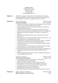 Accounts Sample Resume Payroll Accountant Resume Resume For Your Job Application