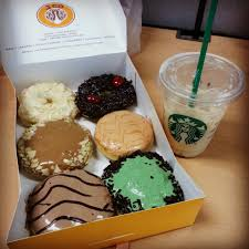 Coffe J Co j co donuts and starbucks iced white chocolate mocha 3 bringin on