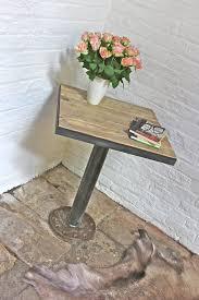 Reclaimed Wood Bistro Table Artus Pedestal Reclaimed Wood Bistro Table With Dark Steel Angle