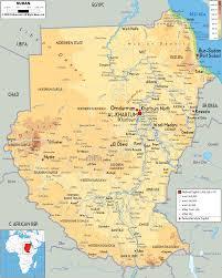 Nile River On Map Physical Map Of Sudan Ezilon Maps