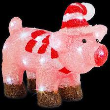 christmas pig led acrylic christmas pig outdoor battery powered