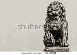 foo lion statue guardian lion foo fu dog guard stock photo 282566981