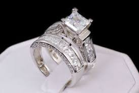 ebay wedding ring sets sterling silver 14k white gold princess cut engagement