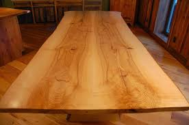 live edge table in ash with mortised slab legs corey morgan