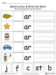 ar word family match letter and write the word word families