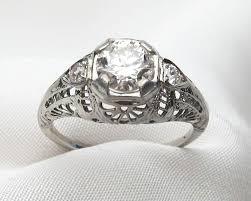 filigree engagement rings art deco white gold filigree diamond ring