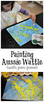wattle painting with pom poms aussie art for kids native