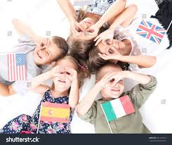 Country Flags England Poland Group Holding Flags Different Countries Stock Photo