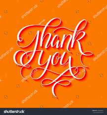 thank you thanksgiving thank you 3d hand drawn calligraphic stock vector 376830442