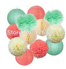 themed paper 12pcs mixed mint green coral party tissue pom poms hanging