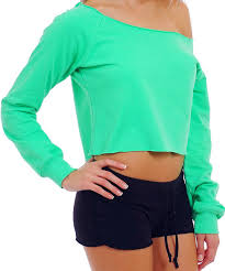 neon blouse s juniors neon color sleeve cropped shirt drop