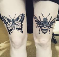bee and a butterfly thigh tattoos eutat