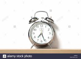 Old Fashioned Alarm Clocks Chrome Alarm Clock With Bells On Set Just After 7 25 Stock Photo
