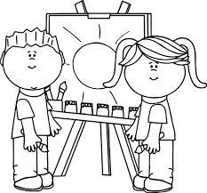 kids making painting coloring page wecoloringpage