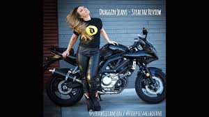 motorcycle gear ladies motorcycle gear review draggin stealthz jeans review youtube