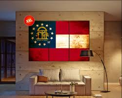 Georgia Flag State Georgia State Flag Canvas Georgia State Flag Wall Decoration