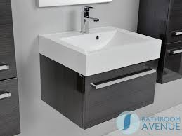Modern Wall Hung Sink Cabinet Graphite Modern Wall Mounted - Designer vanity units for bathroom