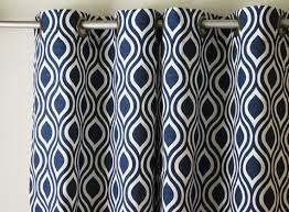 Navy Blue And White Curtains Pair Of 25 Wide Premier Print Navy Blue And White Curtains