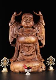 sold wood happy buddha statue with raised arms 20 5bw5 hindu