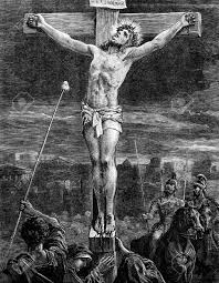 an engraved vintage illustration image of the crucifixion of