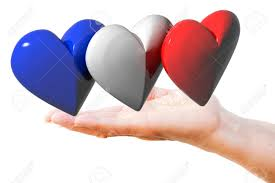 French And American Flags Hand Holds French English American Flag Hearts Lizenzfreie Fotos