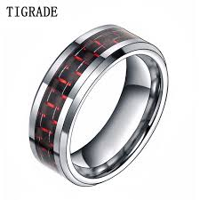 mens comfort fit wedding bands 8mm black carbon fiber inlay men s tungsten ring comfort fit
