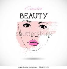beautiful woman face makeup sketch hand stock vector 564651145