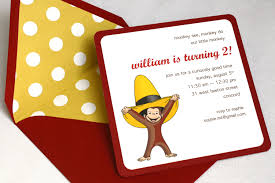 curious george birthday party curious george birthday party invitation square envelope and