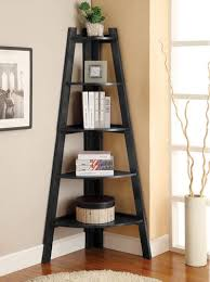 Bookcase Storage Units Corner Ladder Bookcase Black 5 Shelf Wood Display Storage Unit