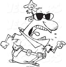 vector of a cartoon mad police man pointing his finger outlined