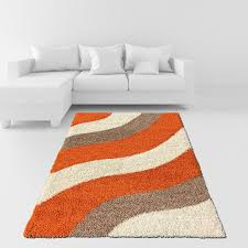 Modern Shaggy Rugs Soft Shag Area Rug 7x10 Geometric Striped Orange Ivory