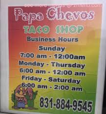 online menu of papa chevo u0027s taco shop restaurant monterey