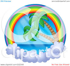 royalty free rf clipart illustration of a rainbow and cloud