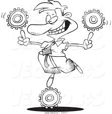 vector of a cartoon businessman balancing technology gears