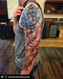 thigh sleeve tattoo designs repost bohemiantattooclub with repostapp american flag 3