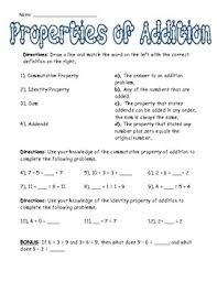 collection of solutions properties of addition worksheets for