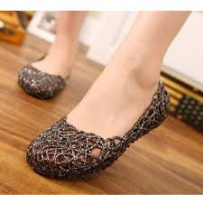 uk womens crystal glitter plastic jelly hollowed flat ballet