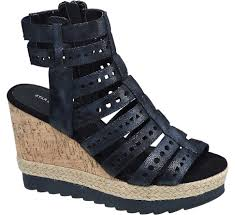 casual star collection ladies u0027 black wedge sandals ux71498