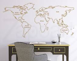 world map with country names contemporary wall decal sticker world map wall decal etsy