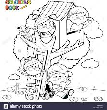 children playing in a tree house coloring book page stock vector