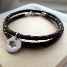 leather bracelet with silver charm images Love lily rose mens leather bracelet and silver fingerprint charm jpg