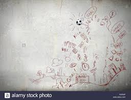 background conceptual image with football sketches on white stock